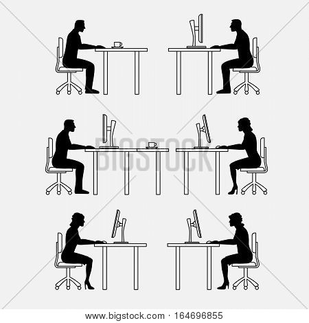 Architectural set of furniture with people. Sitting man, woman. Front view. Interiors elements for house, office, premises. Thin lines icons. Computer, table, chair. Standard size. Vector