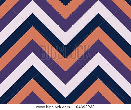 Striped, zigzagging seamless pattern. Zig-zag line texture. Stripy geometric background. Orange, violet, black, white contrast colored. Vector