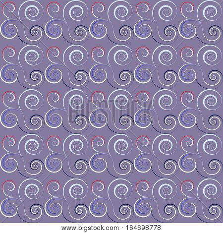 Seamless floral spiral pattern. Twirl lines. Twist abstract ornament on light background. Lilac, gray, white colors. Vector illustration