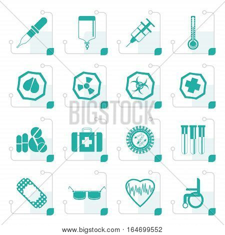 Stylized Simple  medical themed icons and warning-signs - vector Icon Set