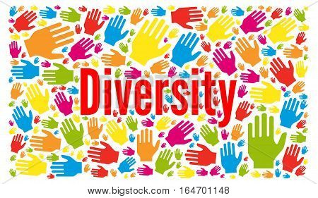 Diversity illustration concept with multi colorful hands