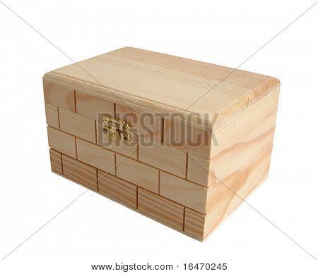 Wooden treasure chest keepsake box over white background