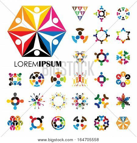 Vector Logo Icons Of People Together - Sign Of Unity, Partnership