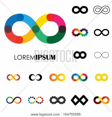 collection of infinity symbols - vector logo icons. this set of signs can also represent concept of continuum boundless and limitless illusion of perpetuity being unlimited