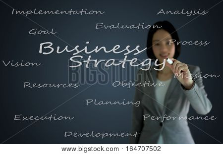 businesswoman with pen writing on the screen.Busniess Strategy