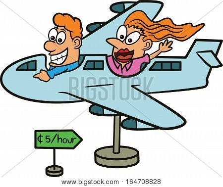 Man and Woman Riding Airplane Model Cartoon Illustration