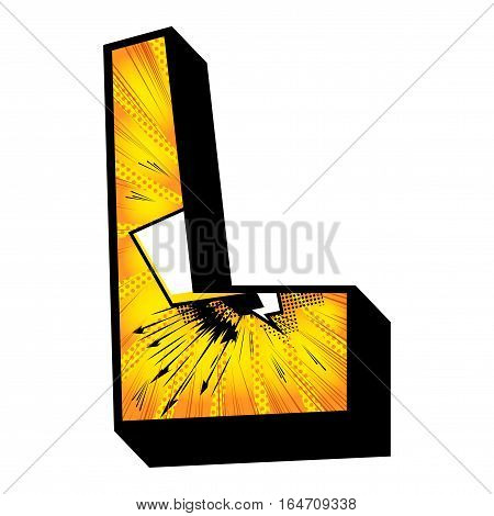 Letter L filled with comic book explosion background.
