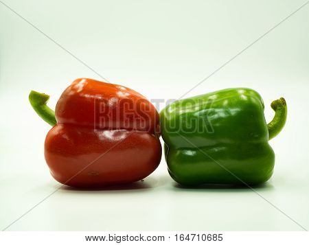 Red and Green paprika on white background sweet pepper bell pepper
