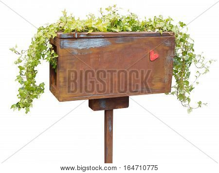 wooden post box isolated on white background