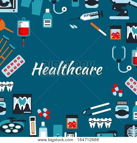 Healthcare medical infographic banner. Vector symbols and icons of hospital medicine equipment and therapy x-ray, sonography, dropper, pills, stethoscope, tonometer, syringe, dentist tools
