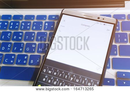 Close Up Android Device Showing Compose A New Email Application On The Screen