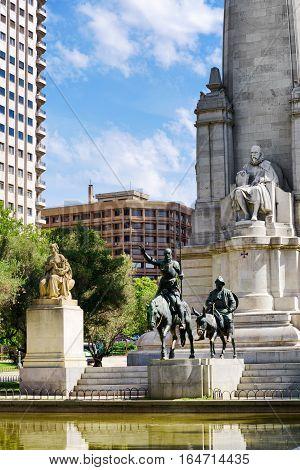 The Stone Sculpture Of Miguel De Cervantes And Bronze Sculptures Of Don Quixote And Sancho Panza