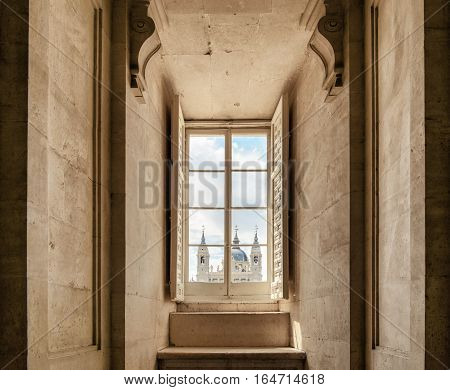 View Of The Cathedral Of Saint Mary The Royal Of La Almudena From The Window Of The Royal Palace Of