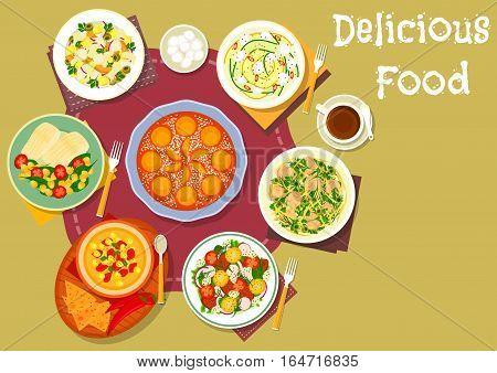 Healthy lunch with dessert icon of greek potato salad with olives, mexican chilli corn soup, chicken cheese salad, vegetable pork salad, zucchini mozzarella salad, tomato corn salad, apricot pie