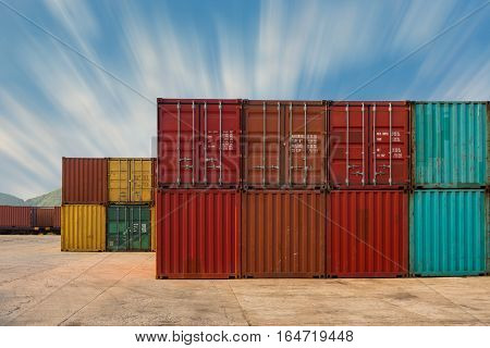 An area yard of cargo container shipping.