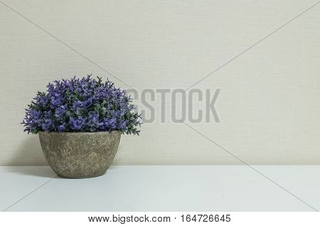 Closeup artificial purple plant on pot for decorate on blurred wooden white desk and wall textured background in room with copy space