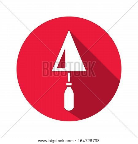 Tool icon. Spattle, surfacer, plastering instrument. Work, job, labour, toil, repair, building symbol. White sign on round button with long shadow. Vector isolated