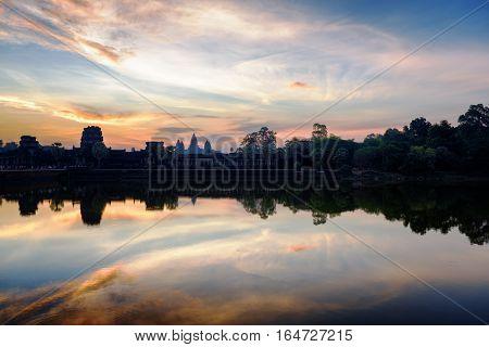 Ancient Temple Angkor Wat At Sunrise. Siem Reap, Cambodia