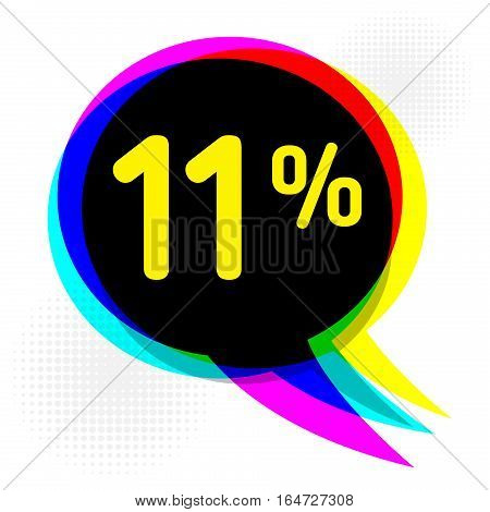 Speech Bubble in Pop-Art Style business concept with text Eleven percent Discount vector illustration