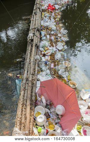 14 Mar. 2016 bangkok thailand environmental problems Unhygienic garbage / Waste dumps clogging the canals and rivers in Bangkok ThailandThe cause flooding in Bangkok