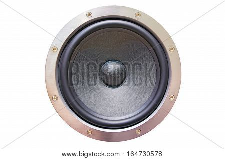 speaker dynamic close-up isolated on white background. Element speaker system