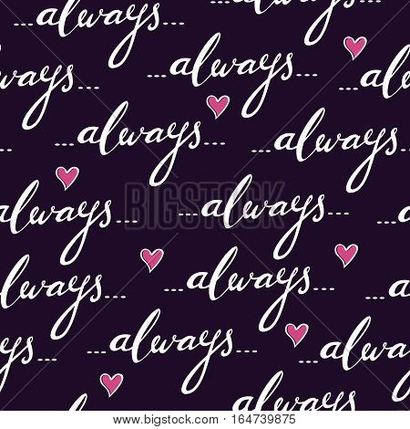 Romantic seamless vector pattern with hand written word