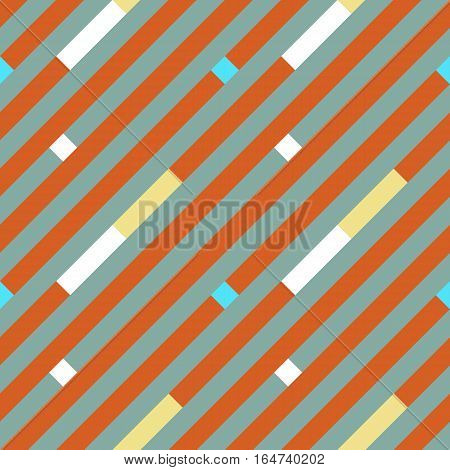 Seamless geometric stripy pattern. Texture of diagonal strips, lines. Yellow, white rectangles on gray, orange striped background. Baby, children colored. Vector