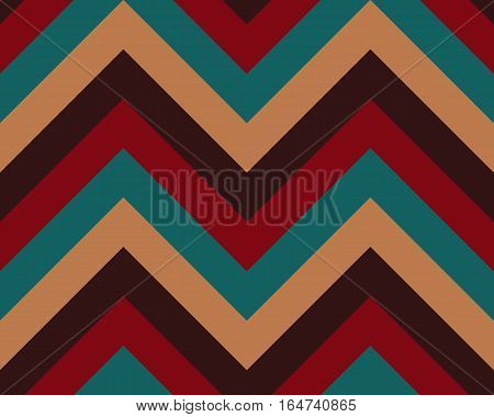 Striped, zigzagging seamless pattern. Zig-zag line texture. Stripy geometric background. Turquoise, orange, brown, red contrast colored. Winter theme. Vector