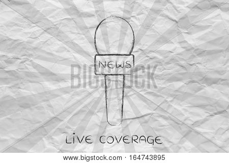 Reporters Microphones With Rays Effect, News Coverage Concept