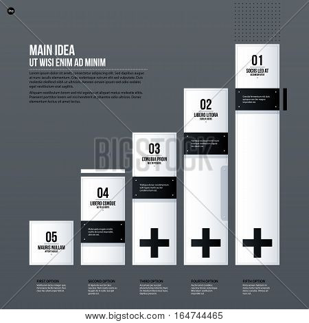 Futuristic Corporate Chart Template On Gray Background. Useful For Presentations And Marketing Media