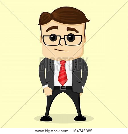 Vector flat illustration. Business man thinking. Isolated. Vector manager