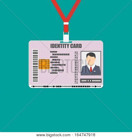 Id card with lanyard. identity card, national id with electronic chip. vector illustration in flat design