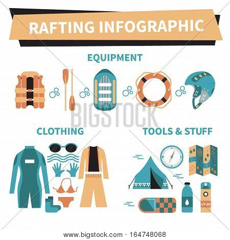 Rafting infographic elements. Vector icon set. Vest, round-bouy, raft, camping fire, helmet, oar, clothing, tools, tent etc. Fully editable. Flat design. On isolated background. Could be used for web and paper.