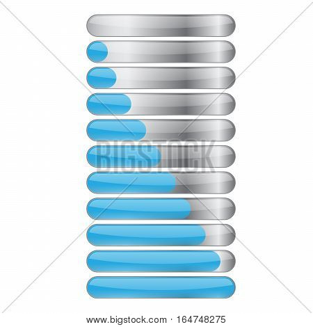 Blue gloss glow glass colorful Loading bar element icon. Users completion indicator. Cluster lines. Uploading speed symbol. Internet page progress. Progress loading bar.