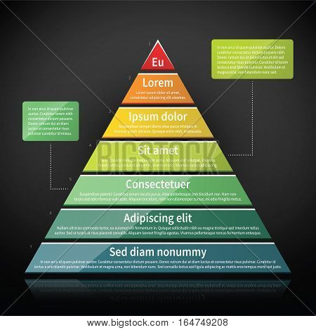 Colorful Glossy Pyramid Chart. Useful For Infographics And Presentations.