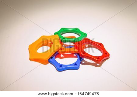 Colorful plastic for microphone on white background