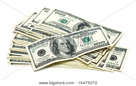 one hundred dollars on white background