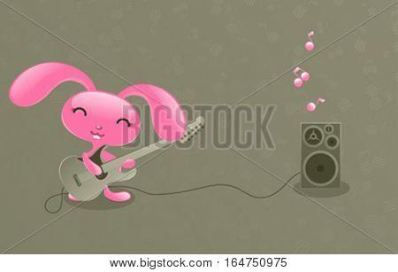 Pretty bunny. Cute baby animal. Vector illustration.
