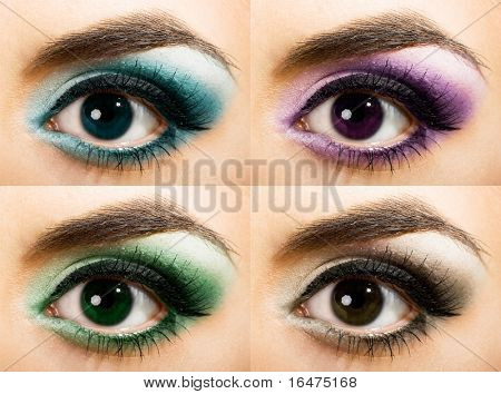 close-up of colored womanish eye