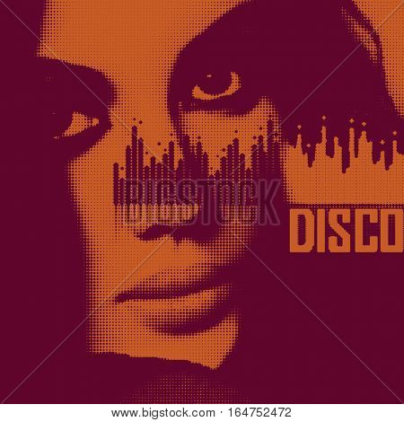 Party-themed design with girl portrait and music analyzer. Vector illustration.