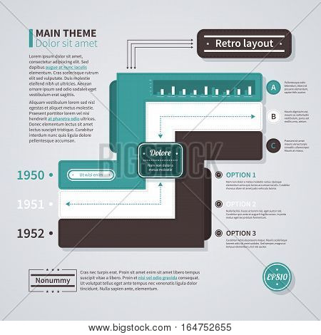 Retro Layout With Three Options. Useful For Presentations And Advertising.