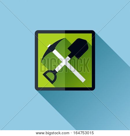 Miner work emblem with crossed pick and shovel. Flat vector icon with long shadow