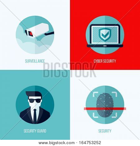 Modern flat vector concepts of security and  surveillance. Icons set for websites, mobile apps and printed materials