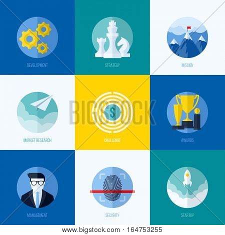 Modern flat vector concepts for websites, mobile apps and printed materials. Icons of development, strategy, mission, market research, challenge, awards, management, startup, security