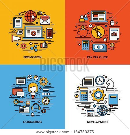 Flat line icons set of promotion, pay per click, consulting, development. Creative design elements for websites, mobile apps and printed materials