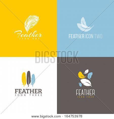 Feather icon. Set of logo design vector templates