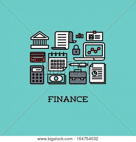 Flat line icons set of finance. Creative design elements