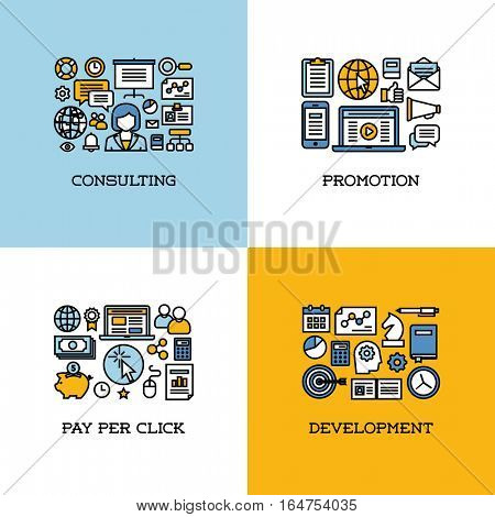 Flat line icons set of consulting, promotion, pay per click, development. Creative design elements for websites, mobile apps and printed materials