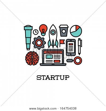 Flat line icons set of startup. Creative design elements for websites, mobile apps and printed materials