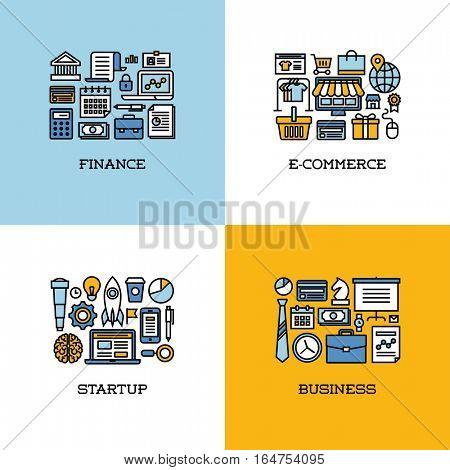 Flat line icons set of finance, e-commerce, startup, business. Creative design elements for websites